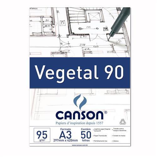 Papel Canson Vegetal Para Desenho Tecnico A3 90g Pacote Com 50