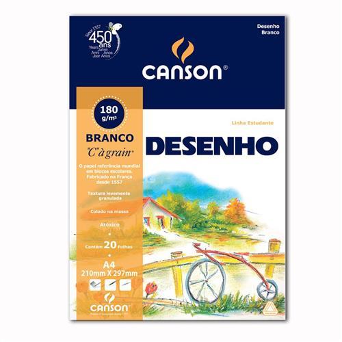 Papel Canson Escolar Para Desenho A4 180g Branco Pacote Com 20